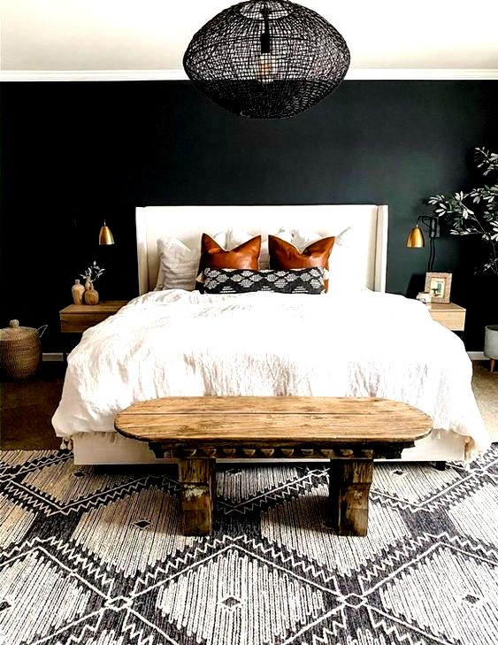 12 Dark Bedroom Ideas for a Cozy and Dramatic Look featured by top US lifestyle blog, Dreaming Loud: Mid-Century black Bedroom Ideas | Dark Bedroom Ideas by popular Michigan lifestyle blog, Dreaming Loud: image of a bedroom with a black accent wall.