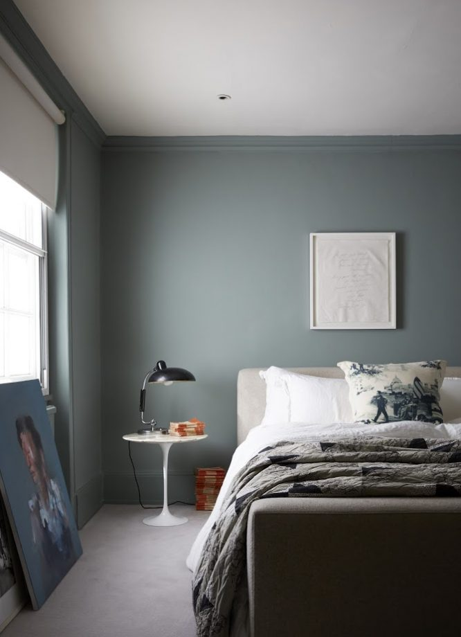 12 Dark Bedroom Ideas for a Cozy and Dramatic Look featured by top US lifestyle blog, Dreaming Loud: Murky green bedroom idea | Dark Bedroom Ideas by popular Michigan lifestyle blog, Dreaming Loud: image of a bedroom with murky green walls.