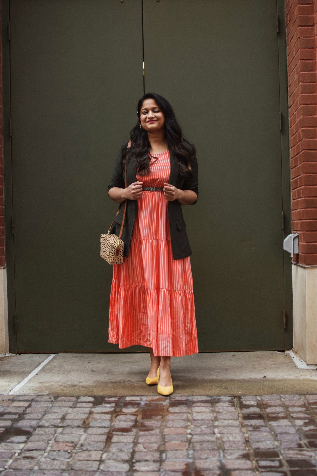 What to Prioritize & De-prioritize in your life, thoughts featured by top US lifestyle blog, Dreaming Loud: image of a woman Wearing Target A New Day tiered dress Loft olive SLEEVE OPEN BLAZER Marc fisher CAITLIN Yellow pumps madewell The Transport Leopard print Camera Bag