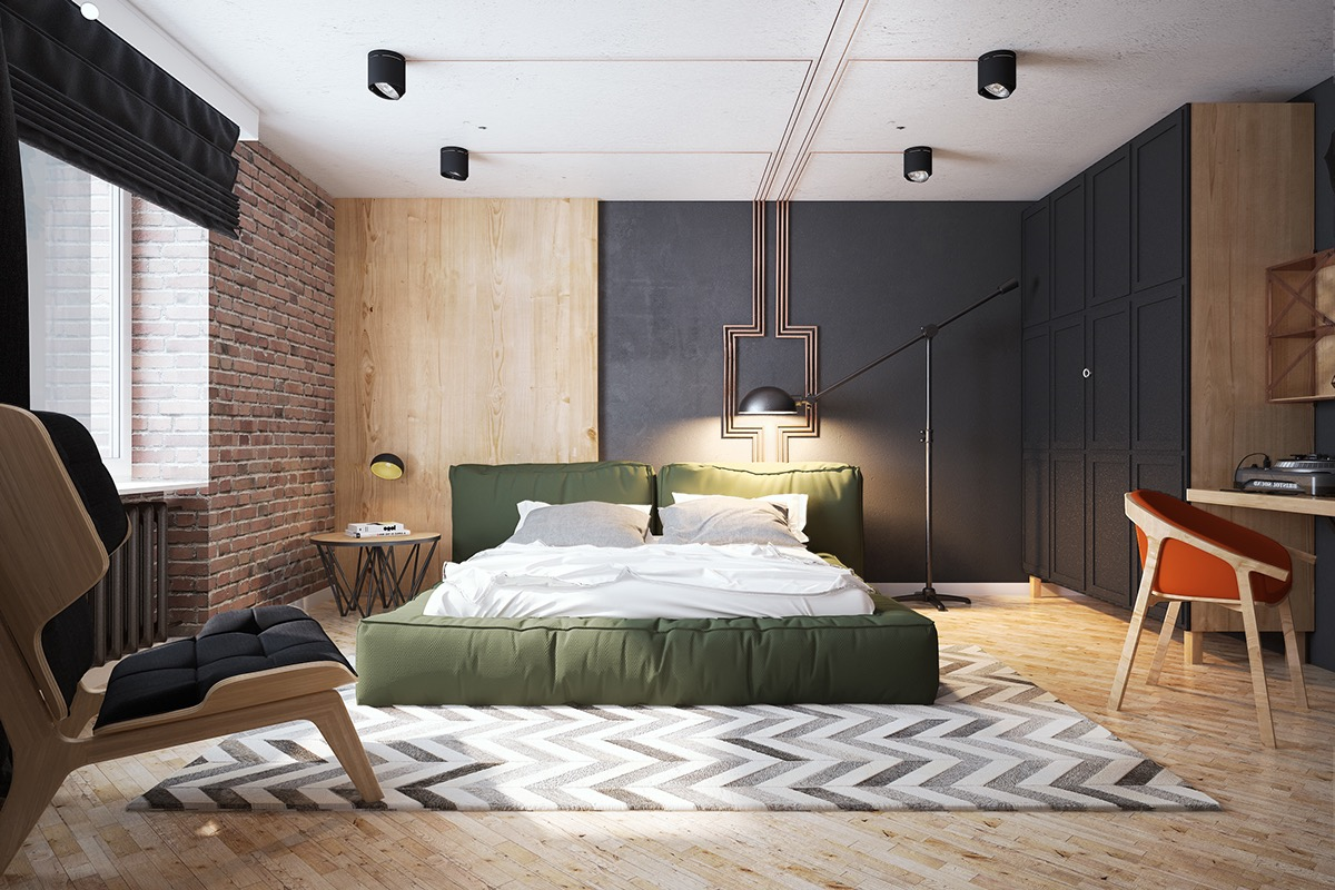 12 Dark Bedroom Ideas for a Cozy and Dramatic Look featured by top US lifestyle blog, Dreaming Loud: multi tonal bedroom with exposed brick | Dark Bedroom Ideas by popular Michigan lifestyle blog, Dreaming Loud: image of a bedroom with multi tones.
