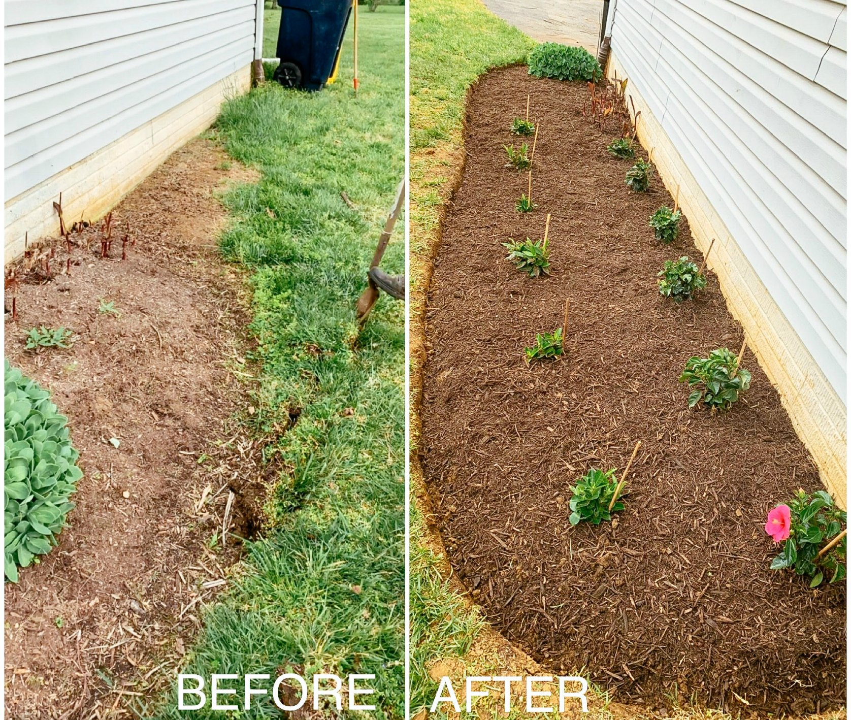 How to build your own flower bed 1 | Flower Bed Design by popular Michigan life and style blog, Dreaming Loud: before and after image of a flower bed.