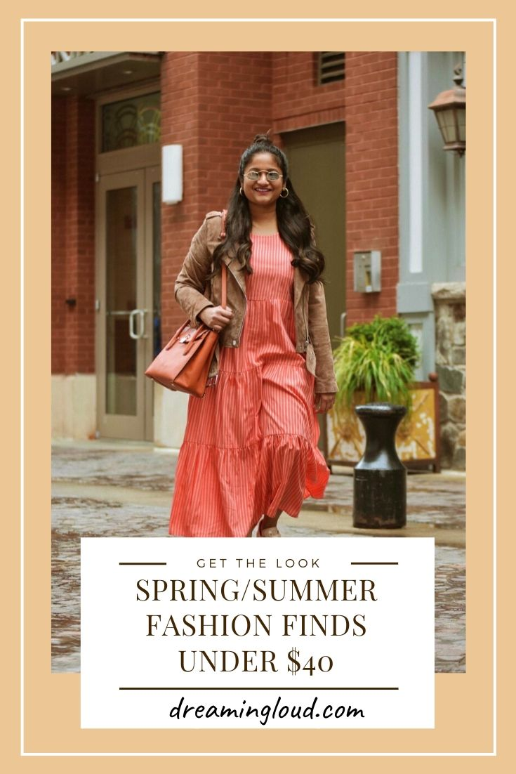 spring_summer fashion finds under $40 | Spring Clothing by popular Michigan fashion blog, Dreaming Loud: image of a woman wearing a Target Women's Sleeveless Tiered Dress, Amazon [BLANKNYC] Women's Real Suede Moto Jacket, Reebok NPC UK COTTON AND CORN SHOES, Madewell Chunky Medium Hoop Earrings, and holding a Ebay Michael Michael Kors Studio Mercer Orange Leather Large All In One Bag.