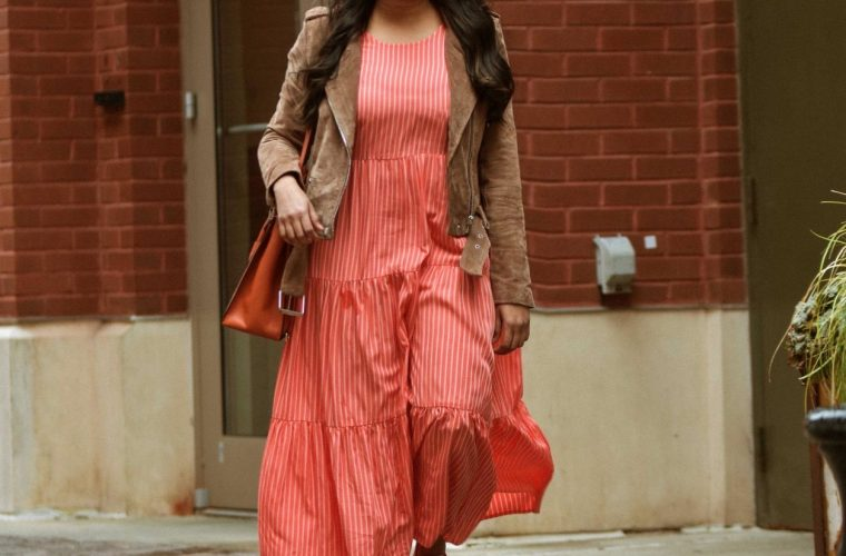 wearing target A new day Tiered maxi dress_Blank nyc Suede Moto jacket_Madewell denim jacket_Reebok NPC UK Cotton and Corn Shoes_Michael Kors Studio Mercer Orange Leather Large All In One Bag 3