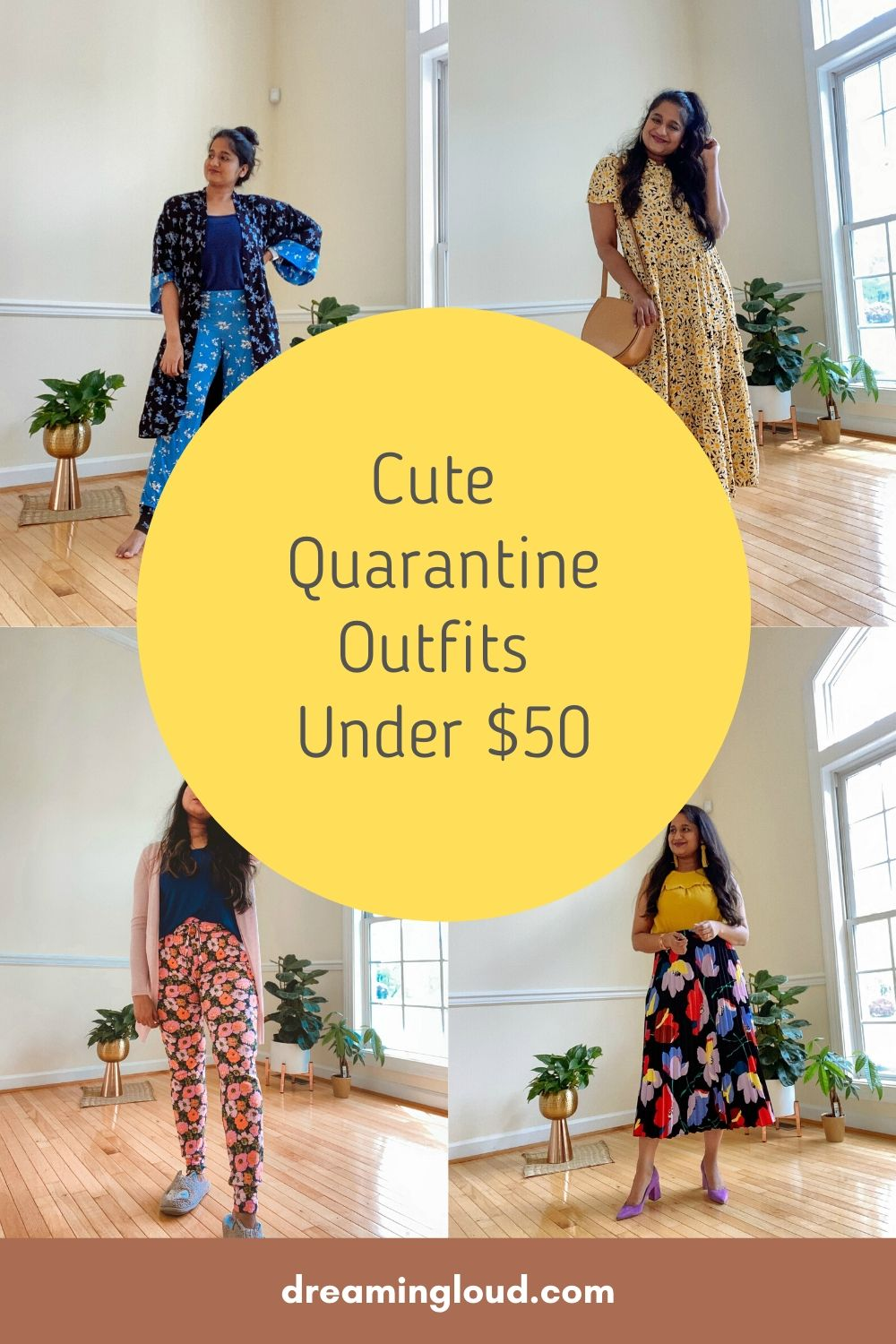 Cute Quxarantine Outfits Under $50 | Casual Outfits by popular Maryland lifestyle blog, Dreaming Loud: Pinterest image of a woman wearing various casual outfits.