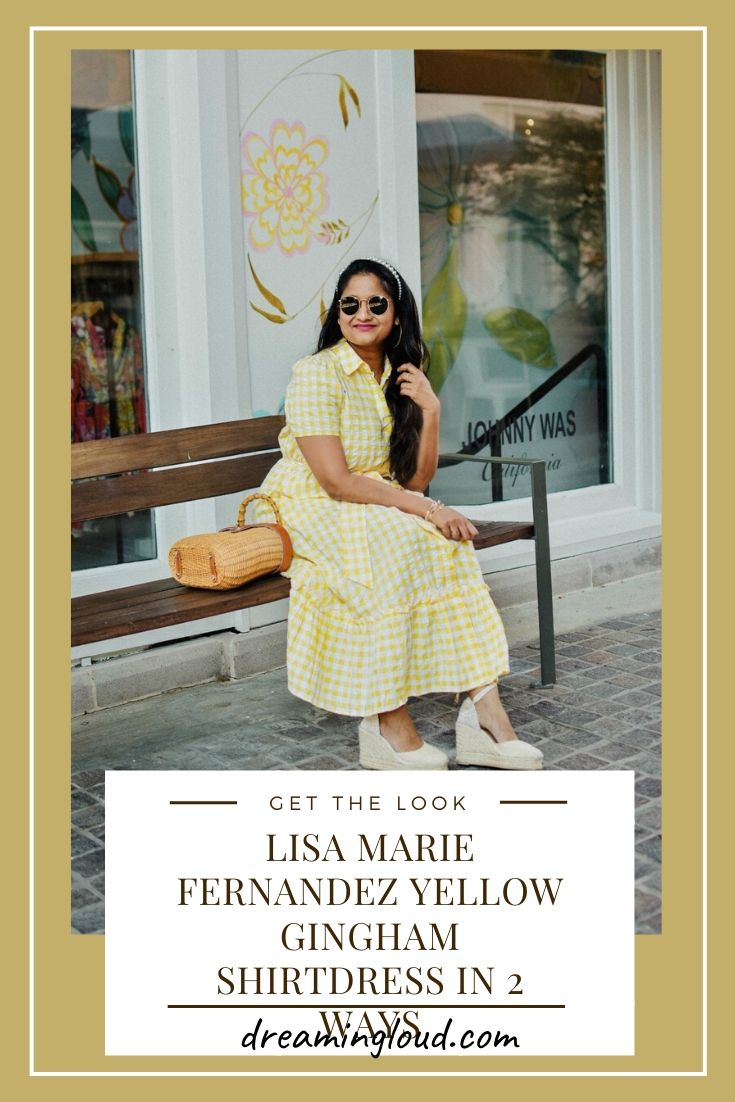 Lisa Marie Fernandez Yellow Gingham Shirtdress In 2 Ways 1 | Lisa Marie Fernandez by popular Maryland fashion blog, Dreaming Loud: image of a woman sitting on a bench and wearing a Lisa Marie Fernandez yellow gingham dress.