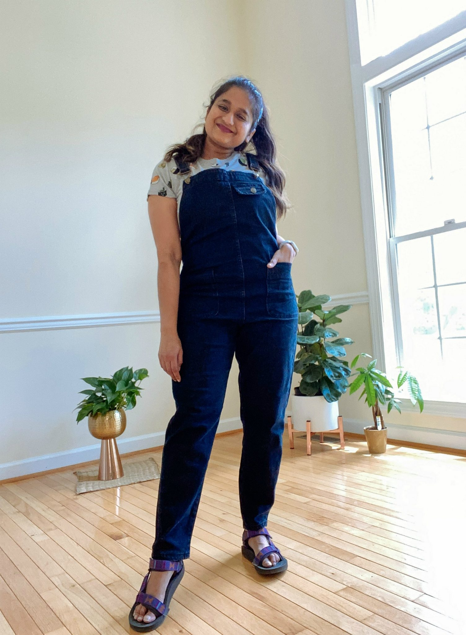 Wearing Amazon Soojun Women's Casual Baggy Denim Bib Overall 1 | Casual Outfits by popular Maryland lifestyle blog, Dreaming Loud: image of a woman wearing a Amazon Soojun Women's Casual Baggy Denim Bib Overall.