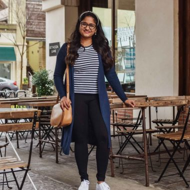 Wearing Lou and Grey Travel Ponte Pocket Leggings, Everlane striped tee, INC Ribbed Duster Cardigan,Chuck Taylor All Star Ox Platform Sneake, Cuyana saddle bag
