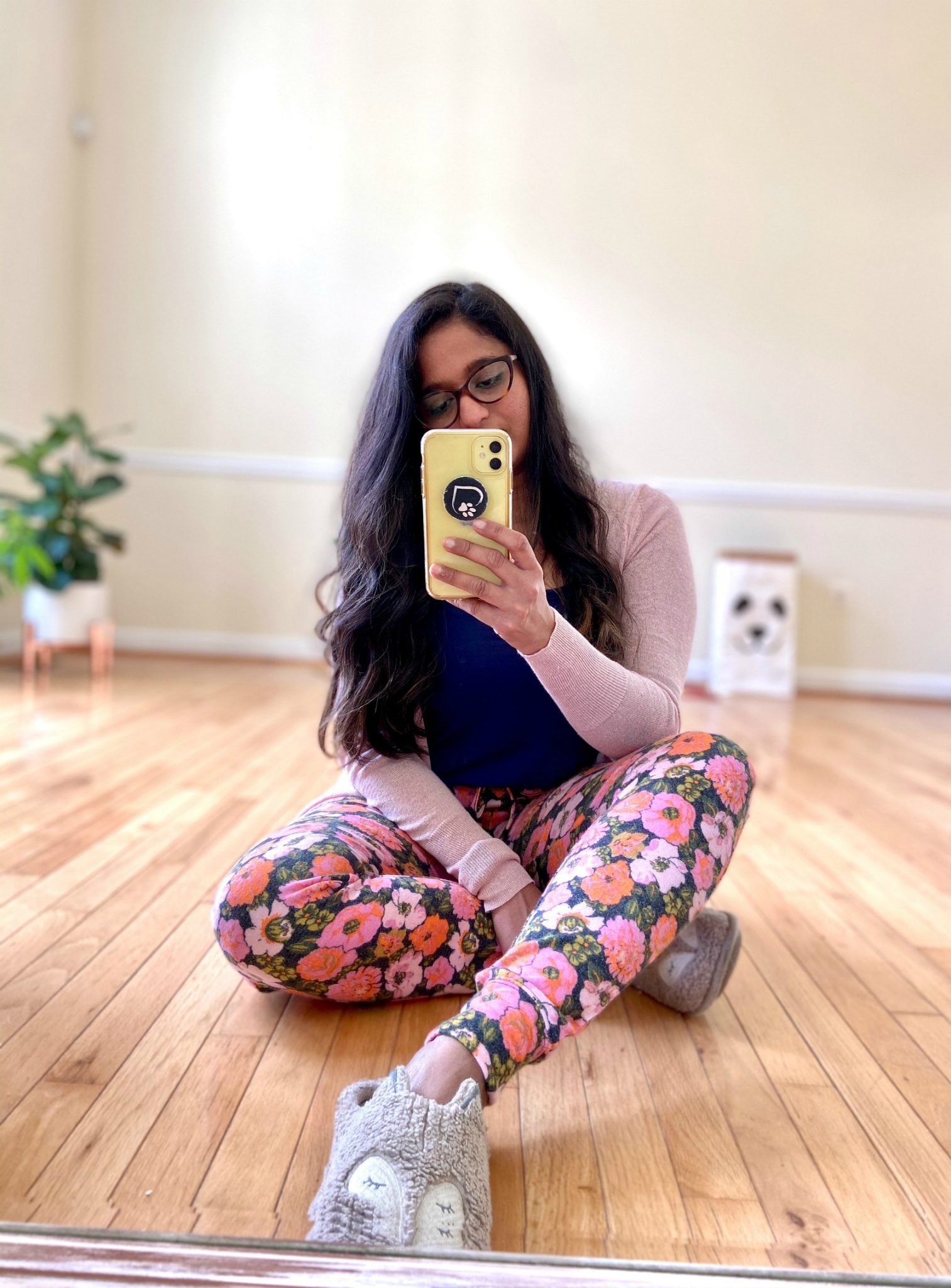 Wearing Nordstrom BP Floral Joggers pants, Halogen Side Slit Cardigan | Casual Outfits by popular Maryland lifestyle blog, Dreaming Loud: image of a woman wearing a Nordstrom BP Floral Joggers pants and Halogen Side Slit Cardigan.