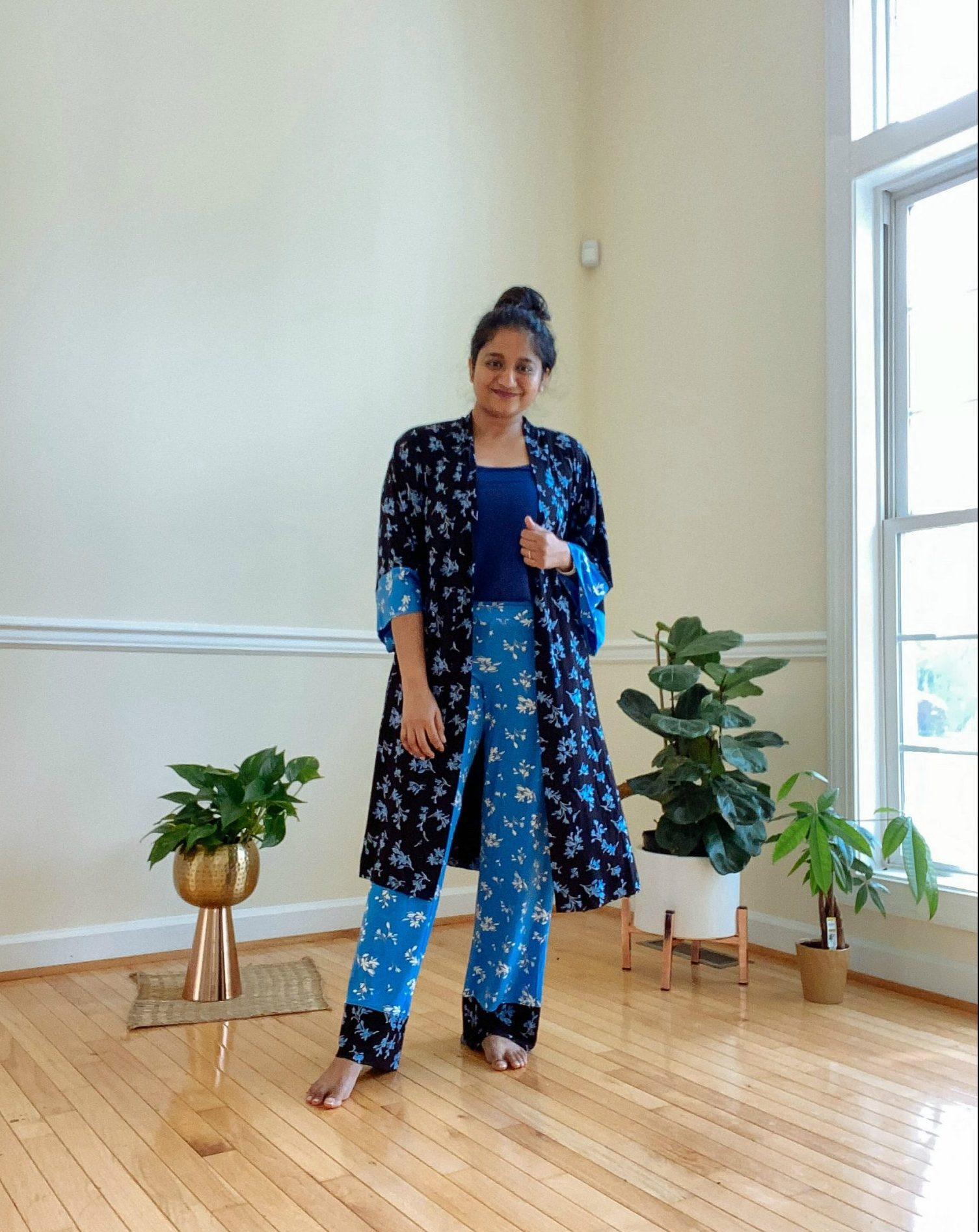 Wearing Soma intimates Cool floral wrap, floral pajama pants,Pajama Swing Cami 1 | Casual Outfits by popular Maryland lifestyle blog, Dreaming Loud: image of a woman wearing a Soma intimates Cool floral wrap, floral pajama pants, and Pajama Swing Cami.
