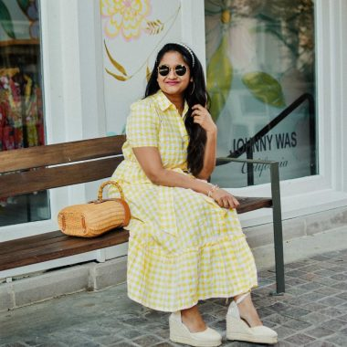 Wearing Wearing Lisa Marie Fernandez for Target Gingham Puff Sleeve Shirtdress, Castaner Carina Wedges in Cream, J.McLaughlin Ava wicker bag, pearl Headband 6