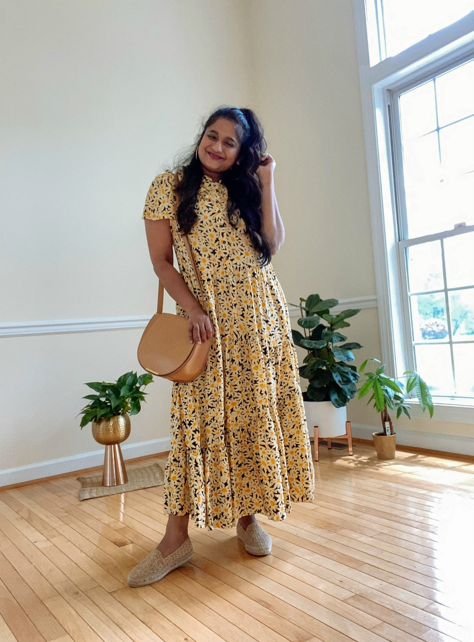 wearing Topshop Daisy Frandad Shirtdress, Manebi Yucatan espadrilles, Cuyana saddle bag | Casual Outfits by popular Maryland lifestyle blog, Dreaming Loud: image of a woman wearing a Topshop Daisy Frandad Shirtdress, Manebi Yucatan espadrilles, and holding a Cuyana saddle bag.