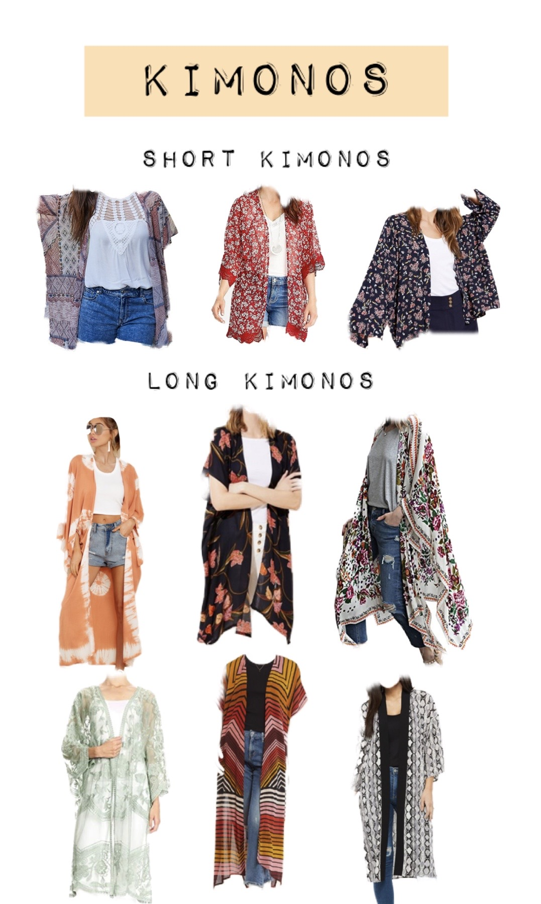 Best Summer Kimonos to Buy | Product Collage by popular Maryland lifestyle blog, Dreaming Loud: collage image of various long and short kimonos.