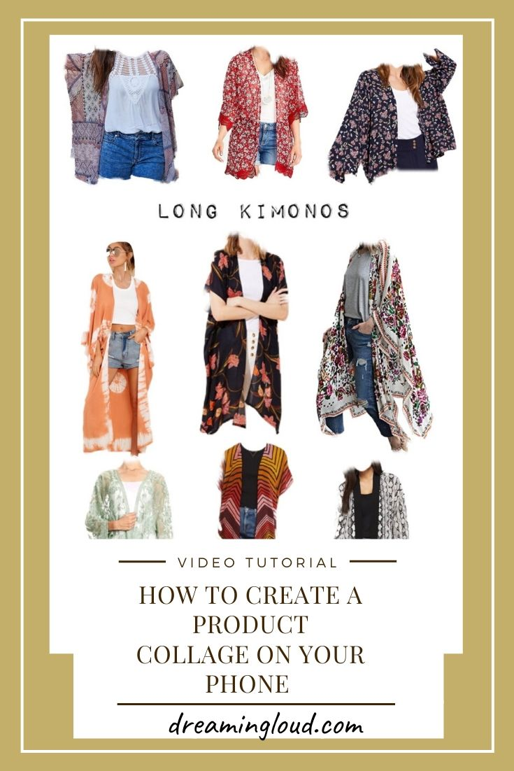 How to Create a Product Collage on your phone | Product Collage by popular Maryland lifestyle blog, Dreaming Loud: collage image of various long kimonos.