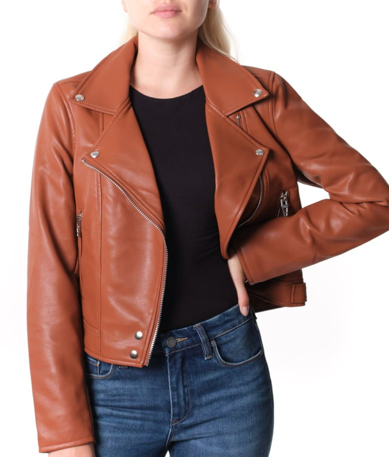 BLANKNYC Good Vibes Faux Leather Moto Jacket | Nordstrom Anniversary Sale by popular Maryland modest fashion blog, Dreaming Loud: image of a woman wearing a Nordstrom Good Vibes Faux Leather Moto Jacket BLANKNYC.