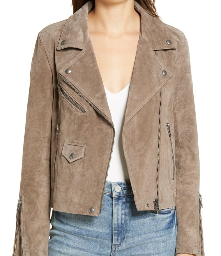 Blanknyc Vital Signs Suede Moto Jacket | Nordstrom Anniversary Sale by popular Maryland modest fashion blog, Dreaming Loud: image of a woman wearing a Nordstrom Good Vibes Faux Leather Moto Jacket BLANKNYC.