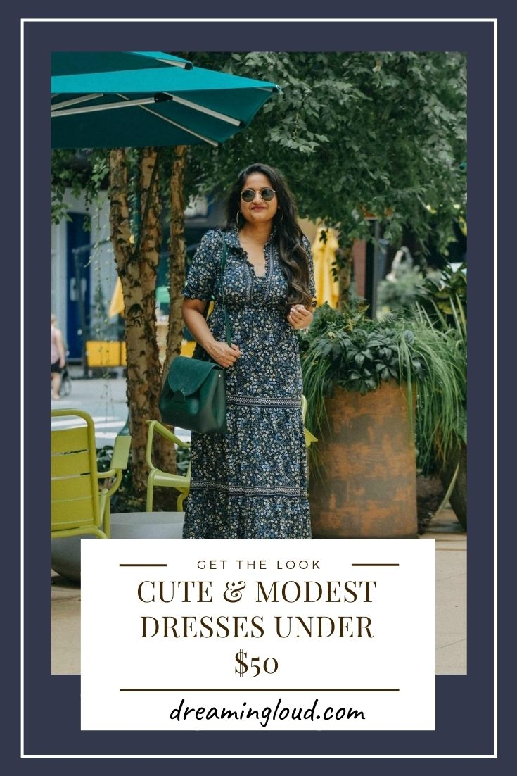 Cute & Modest Dresses Under $50 | Modest Dresses Under $50 by popular Maryland modest fashion blog, Dreaming Loud: Pinterest image of a woman wearing a Nordstrom Rack Max Studio Elbow Length Sleeve Print Tiered Maxi Dress, Oversized Hoop Earrings and holding a Polene Numero bag.