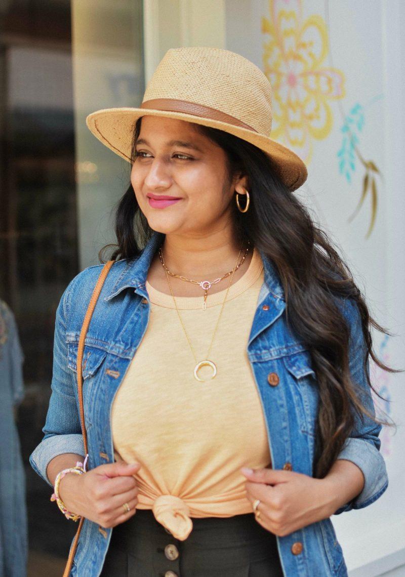 Favorite Summer Accessories- Gorjana Parker Necklace, Straw hat, Madewell Medium hoops