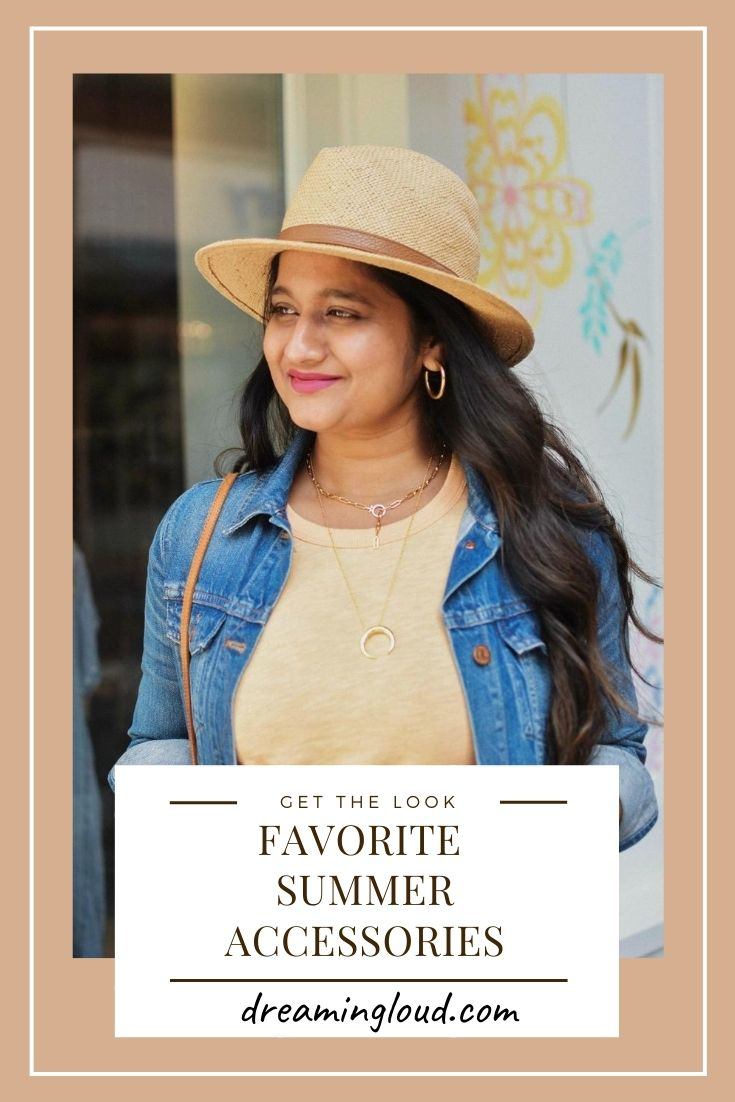 Favorite  Summer Accessories | Summer Fashion Accessories by popular Maryland fashion blog, Dreaming Loud: image of a woman wearing a jean jacket, yellow shirt, and straw hat.