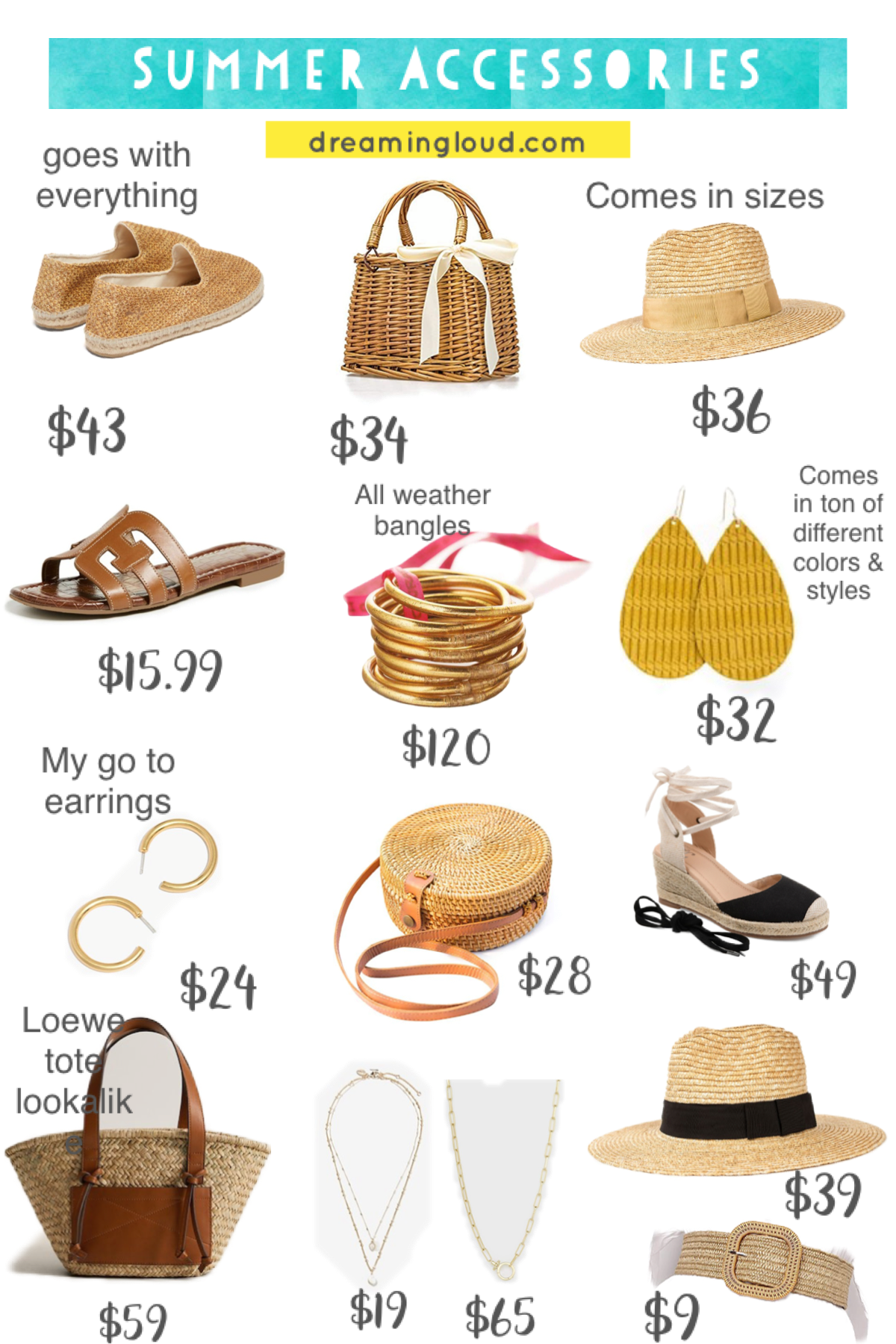 Summer Fashion Accessories by popular Maryland fashion blog, Dreaming Loud: collage image of a pair of MANEBÍ Yucatan woven-raffia espadrilles, Amazon DOKOT Natural Hand-woven Rectangular Wicker Handbag Basket Purse, Joanna Straw Hat BRIXTON, Amazon softome Women's Flat Slide Sandals Cutout Leather Open Toe, Aha All Weather Serenity Prayer Bangles, Nickel + Suede SAFFRON CORD LEATHER EARRINGS, Madewell Chunky Medium Hoop Earrings, Amazon NATURAL NEO Handwoven Round Rattan Bag, Nordstrom Rack JOURNEE Collection Monte Wedge Espadrille, Mango MUM & ME Double strap basket, Express Two Row Cubic Zirconia Pearl Drop Necklace, Gorjana Two Row Cubic Zirconia Pearl Drop Necklace, and Amazon Brixton Women's Joanna Straw Sun Hat.
