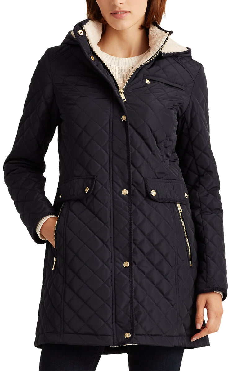 Lauren Ralph Lauren Quiltted Sherling Lining coat | Nordstrom Anniversary Sale by popular Maryland modest fashion blog, Dreaming Loud: image of a Nordstrom Quilted Coat with Faux Shearling Lining LAUREN RALPH LAUREN.