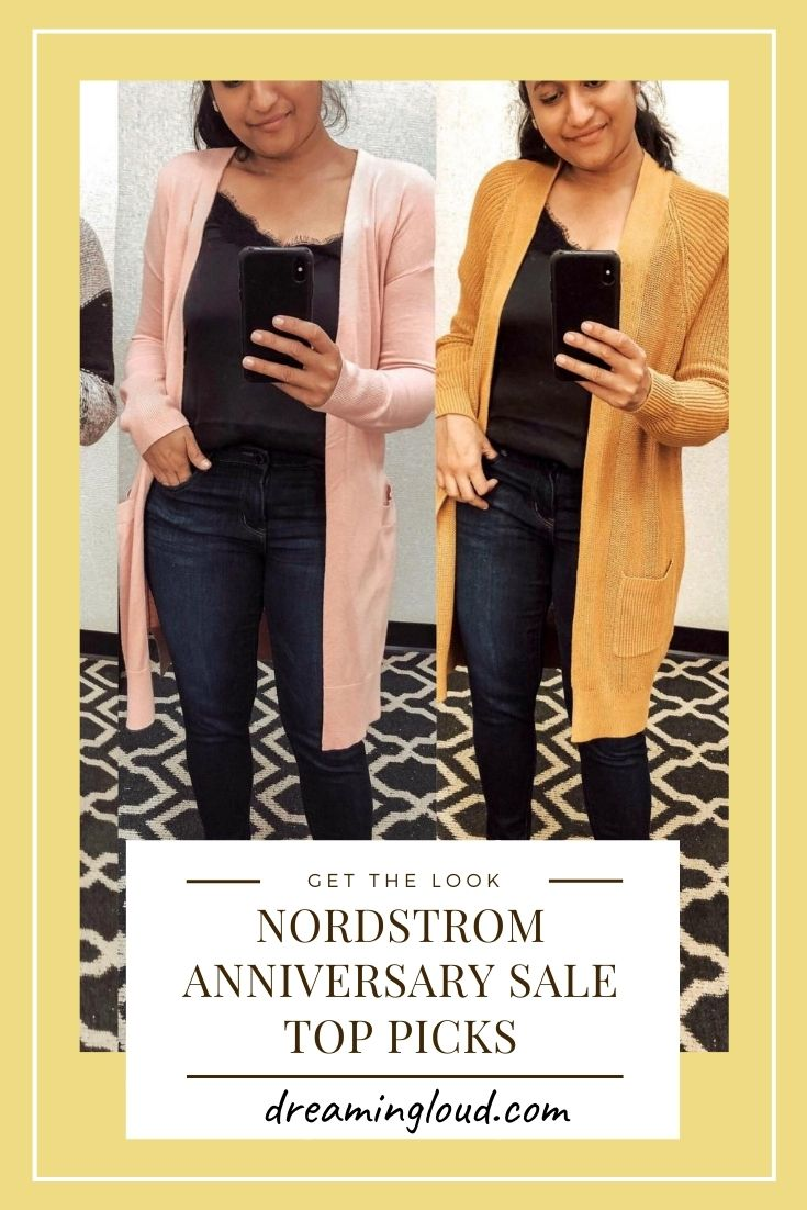 Nordstrom Anniversary Sale Top Picks (1) | Nordstrom Anniversary Sale by popular Maryland modest fashion blog, Dreaming Loud: image of a woman wearing a cardigan, jeans, and black lace cami.