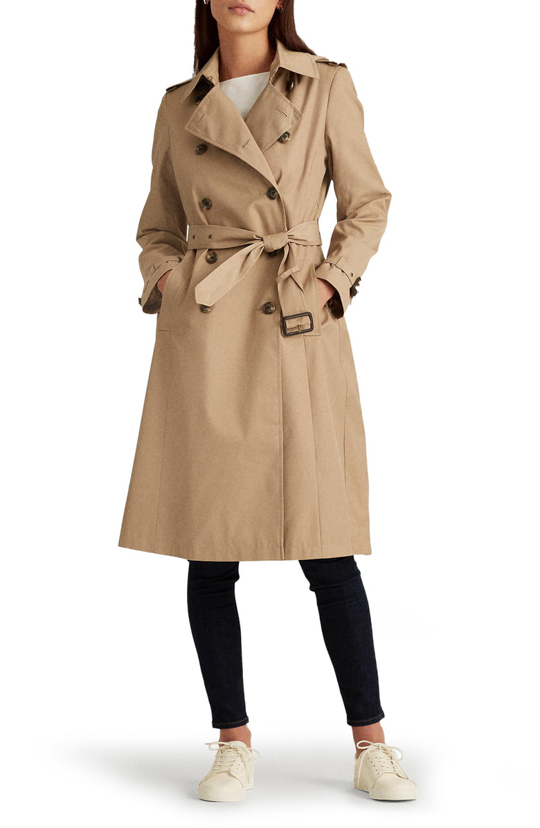 Ralph Lauren Double breasted trench coat | Nordstrom Anniversary Sale by popular Maryland modest fashion blog, Dreaming Loud: image of a Nordstrom Double Breasted Long Hooded Trench Coat LAUREN RALPH LAUREN.