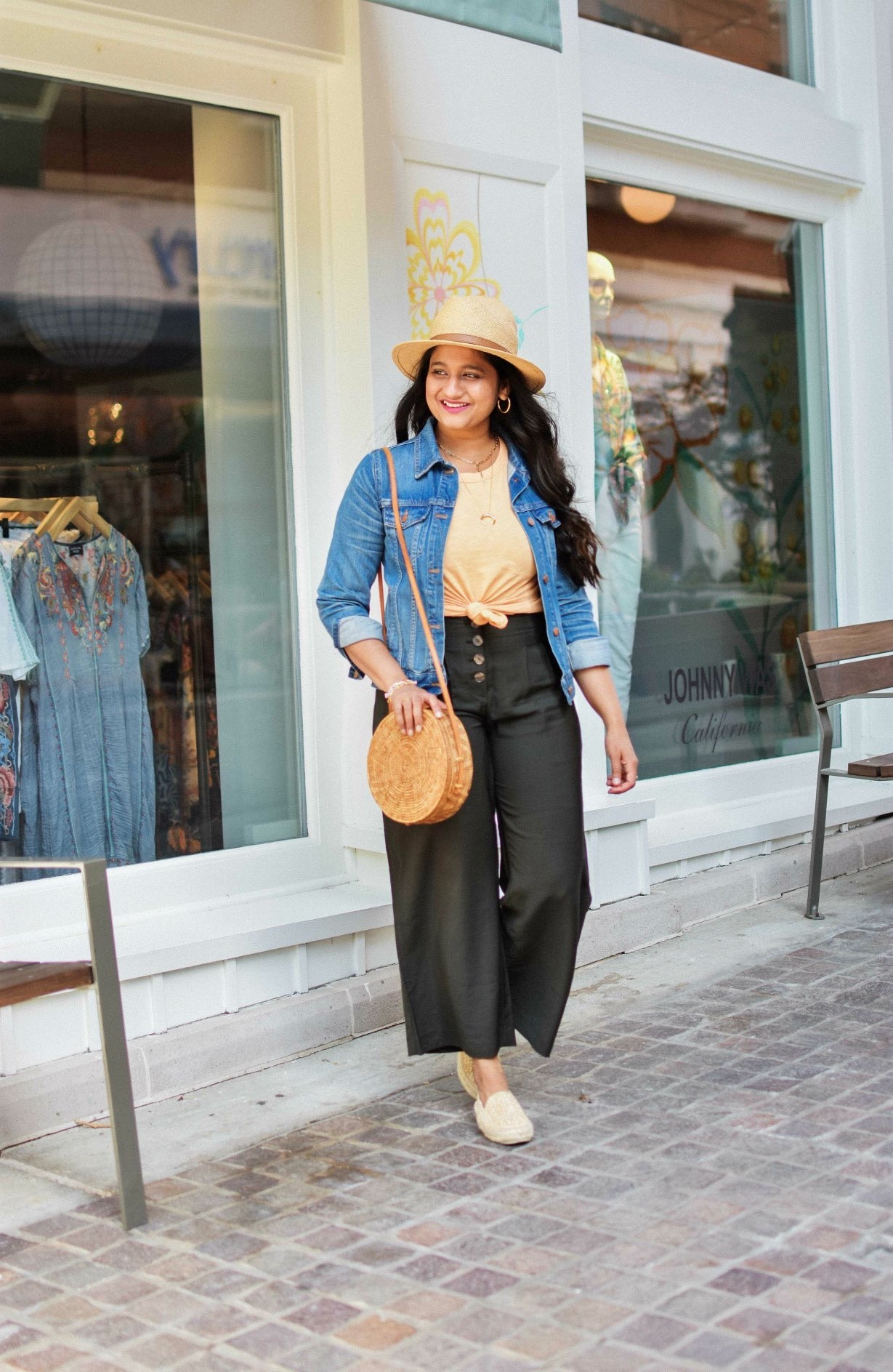 Summer oufit-Loft Fluid pants, Gorjana chain necklace, Starw hat, Manebi Raffia Espdrilles10