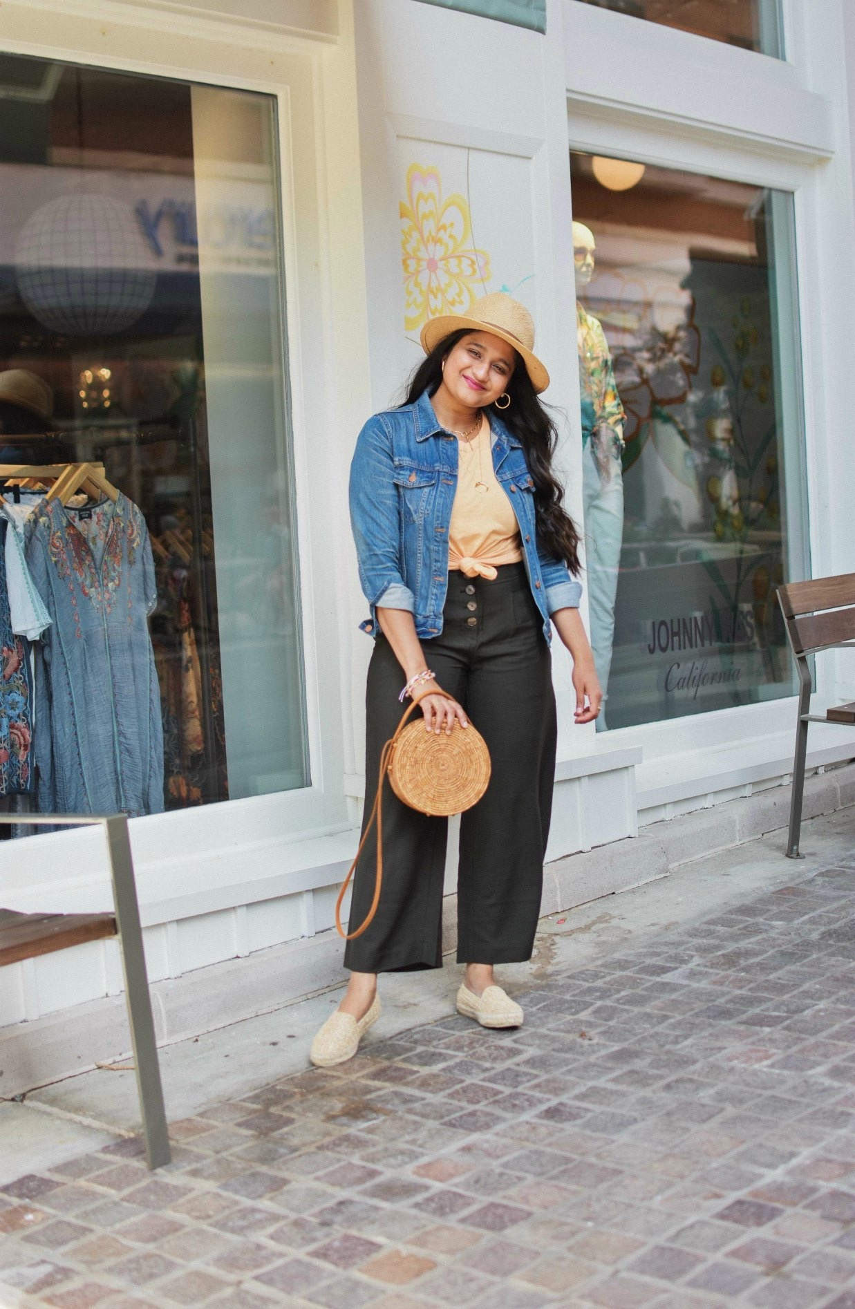 Wearing Loft Button Front Lightweight Fluid Pants,Madewell whisper tee, Manebi Espadrille, Straw bag, Madewell Denim Jacket