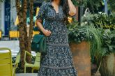 wearing Max Studio printed tiered maxi dress, castaner carina wedges in green, Polene Numero un bag