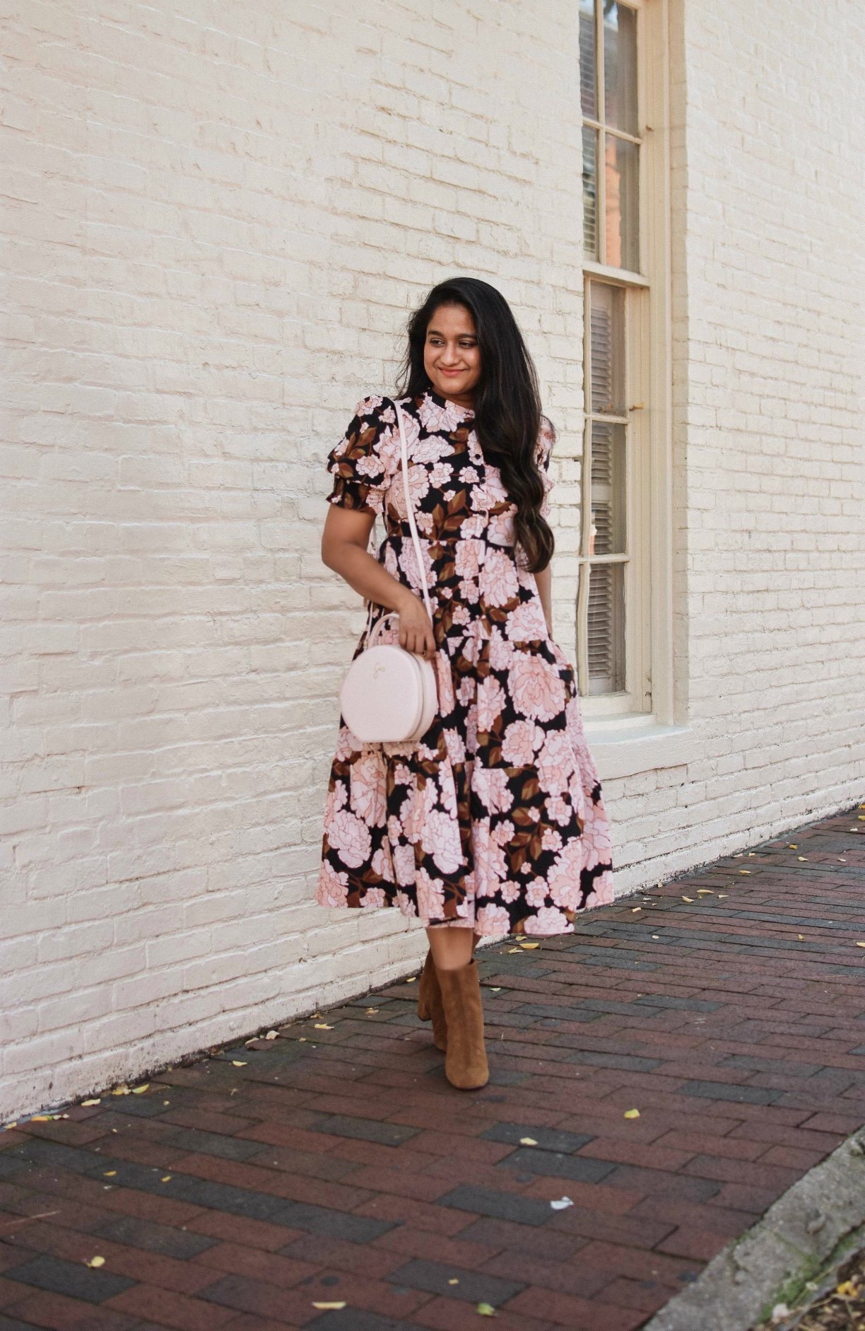 Fall Affordable Style-Wearing Target Who What Wear Short Puff Sleeve Tiered Babydoll Dress,Jcrew Suede Ankle boots, Velvet headband 2 | Fall Favorites by popular Maryland modest fashion blog, Dreaming Loud: image of a woman standing next to a white brick building and wearing a Target Women's Short Puff Sleeve Tiered Babydoll Dress, J. Crew Suede ankle boots, Cotton On Maddi Plait Headband, tde. Black Circle Bag, and Gorjana Reese Pearl Huggies.