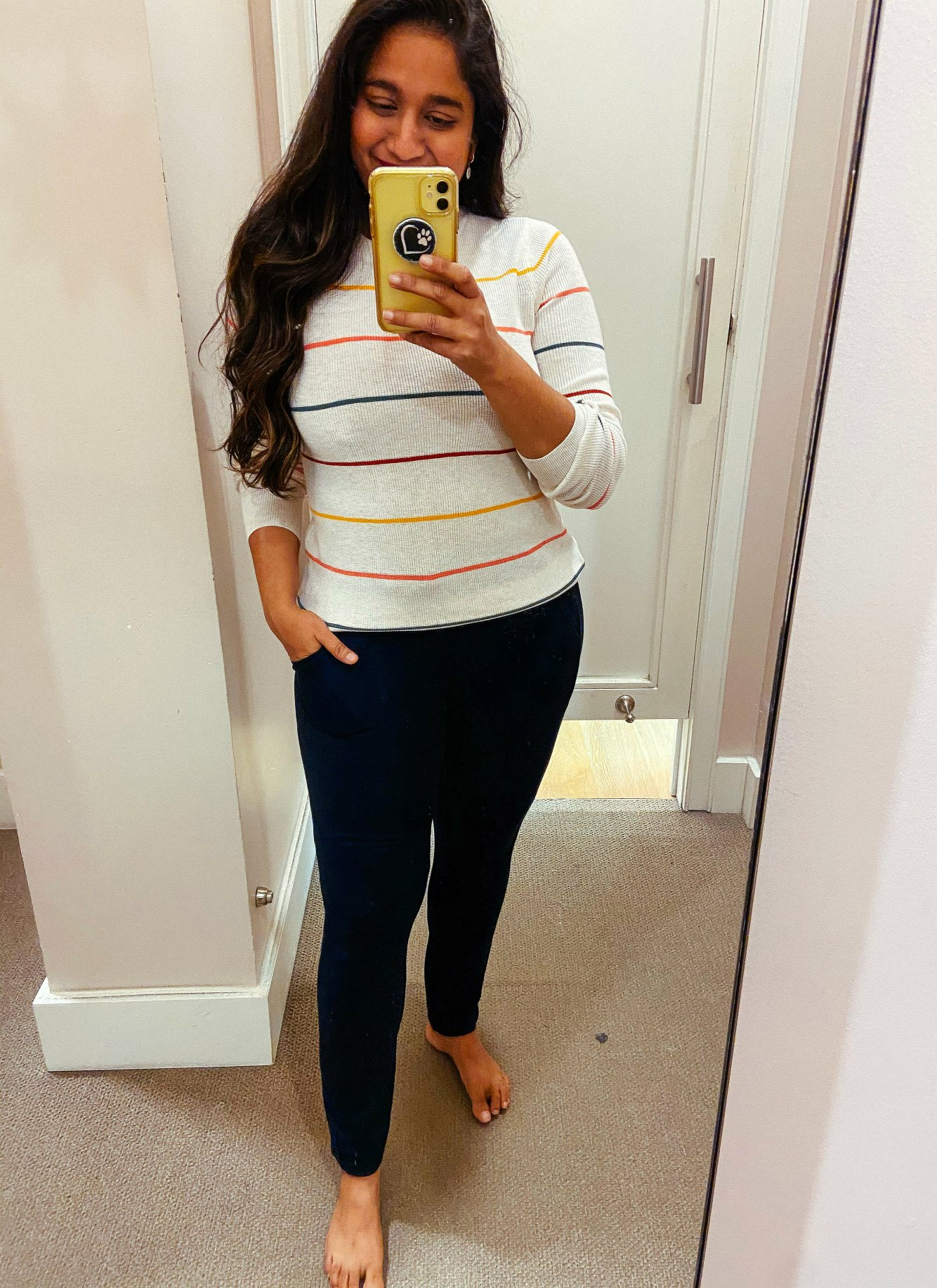 Fall WFH Outfit ideas- Wearing Lou & Grey Signature Softblend Sweatpants,Striped Modern Crew Neck Sweater | Fall Clothing by popular Maryland modest fashion blog, Dreaming Loud: image of a woman wearing a Loft Lou & Grey Signature Softblend Sweatpants, and Striped Modern Crew Neck Sweater.