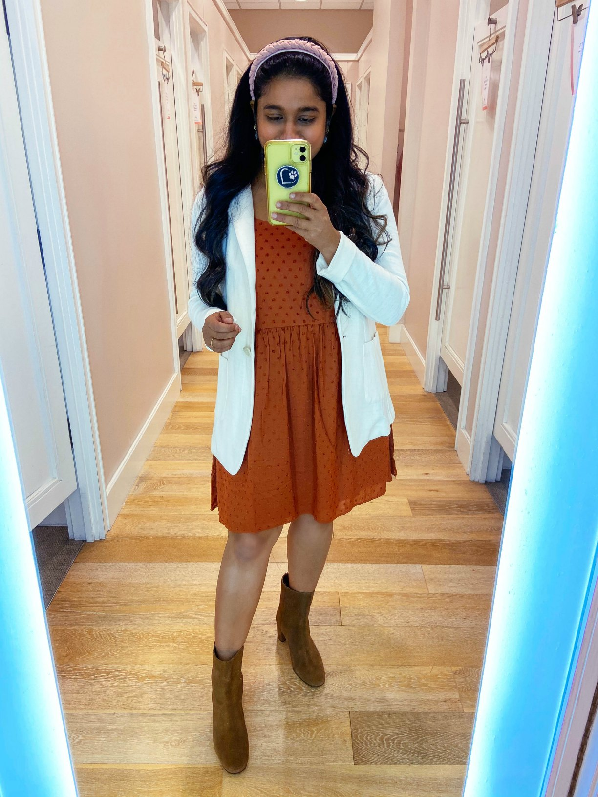 Fall WFH Outfits- Wearing Clip Strappy Swing Dress, Soft Knit blazer in white, Velvet headband, J,crew suede Ankle boots | Fall Clothing by popular Maryland modest fashion blog, Dreaming Loud: image of a woman wearing a Loft Clip Strappy Swing Dress, Soft Knit blazer in white, Velvet headband, and J. Crew suede Ankle boots.