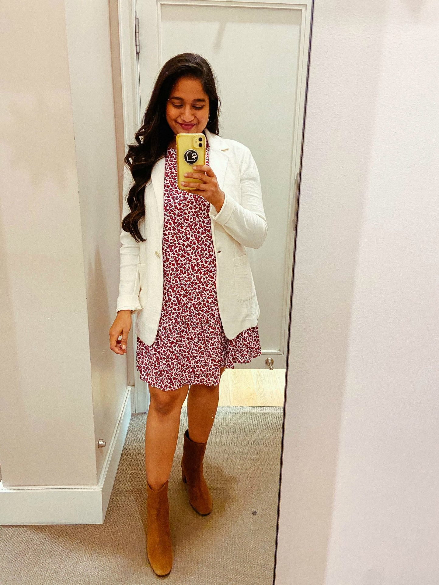Fall WFH Outfits- wearing Floral Flounce Swing Dress, Soft Knit Blazer,J.Crew Suede ankle boots | Fall Clothing by popular Maryland modest fashion blog, Dreaming Loud: image of a woman wearing a Loft Floral Flounce Swing Dress, Soft Knit Blazer, and J.Crew Suede ankle boots.
