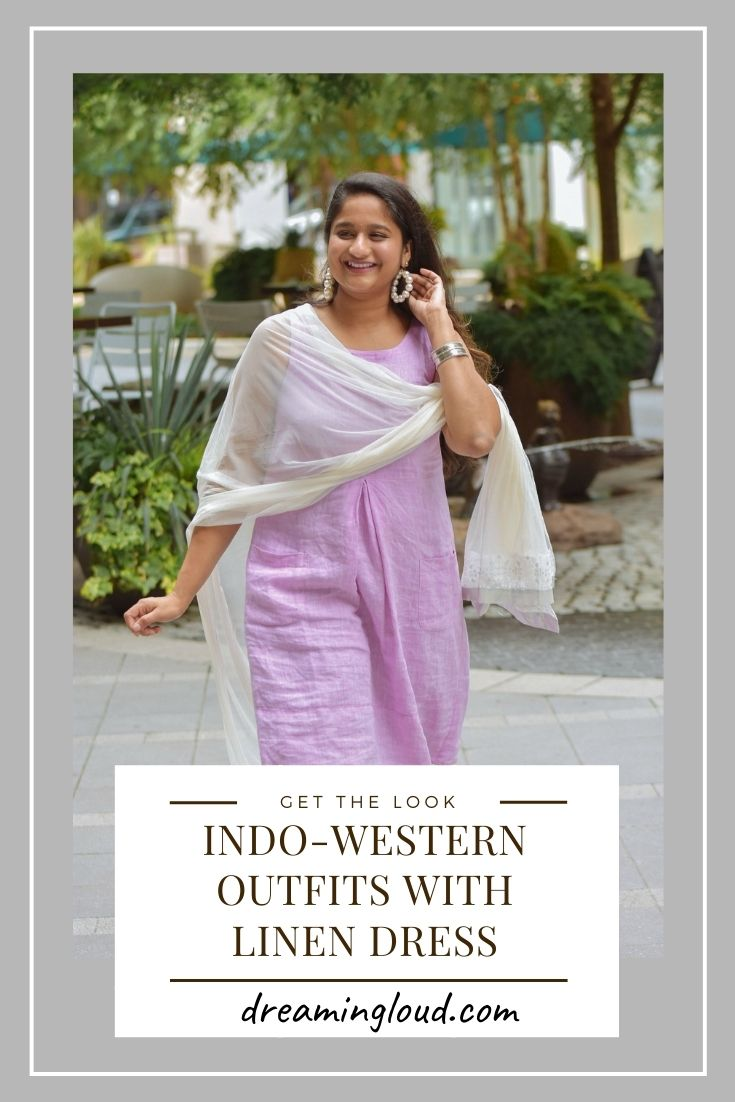 Indo-western Outfits with Linen Dress | Indo Western by popular Maryland modest fashion blog, Dreaming Loud: Pinterest image of a woman wearing an Indo Wester outfit with a purple linen dress.