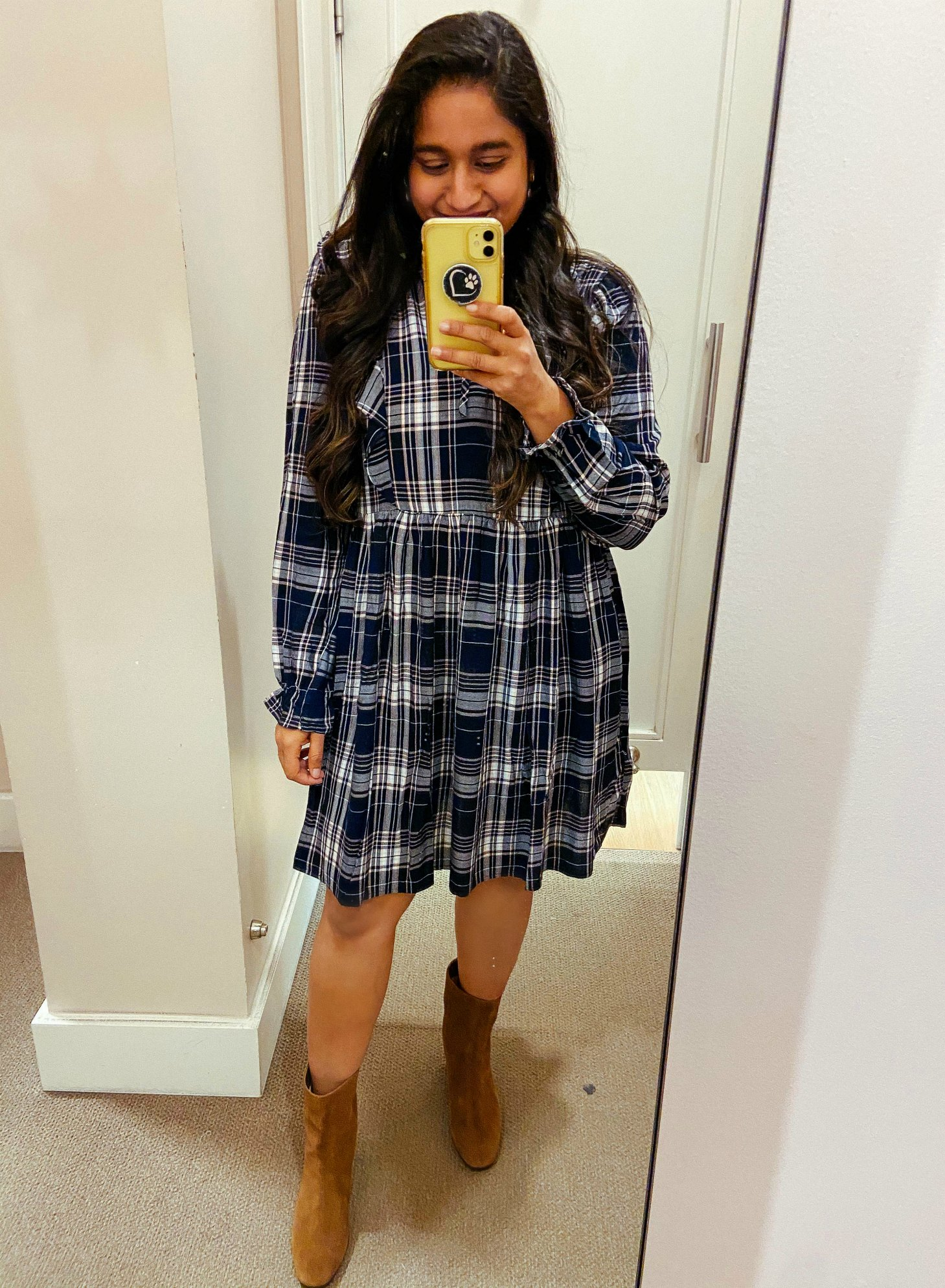 Loft Plaid Ruffle Swing Dress. J.crew Suede Ankle boots | Fall Clothing by popular Maryland modest fashion blog, Dreaming Loud: image of a woman wearing a Loft Plaid Ruffle Swing Dress. and J.crew Suede Ankle boots.