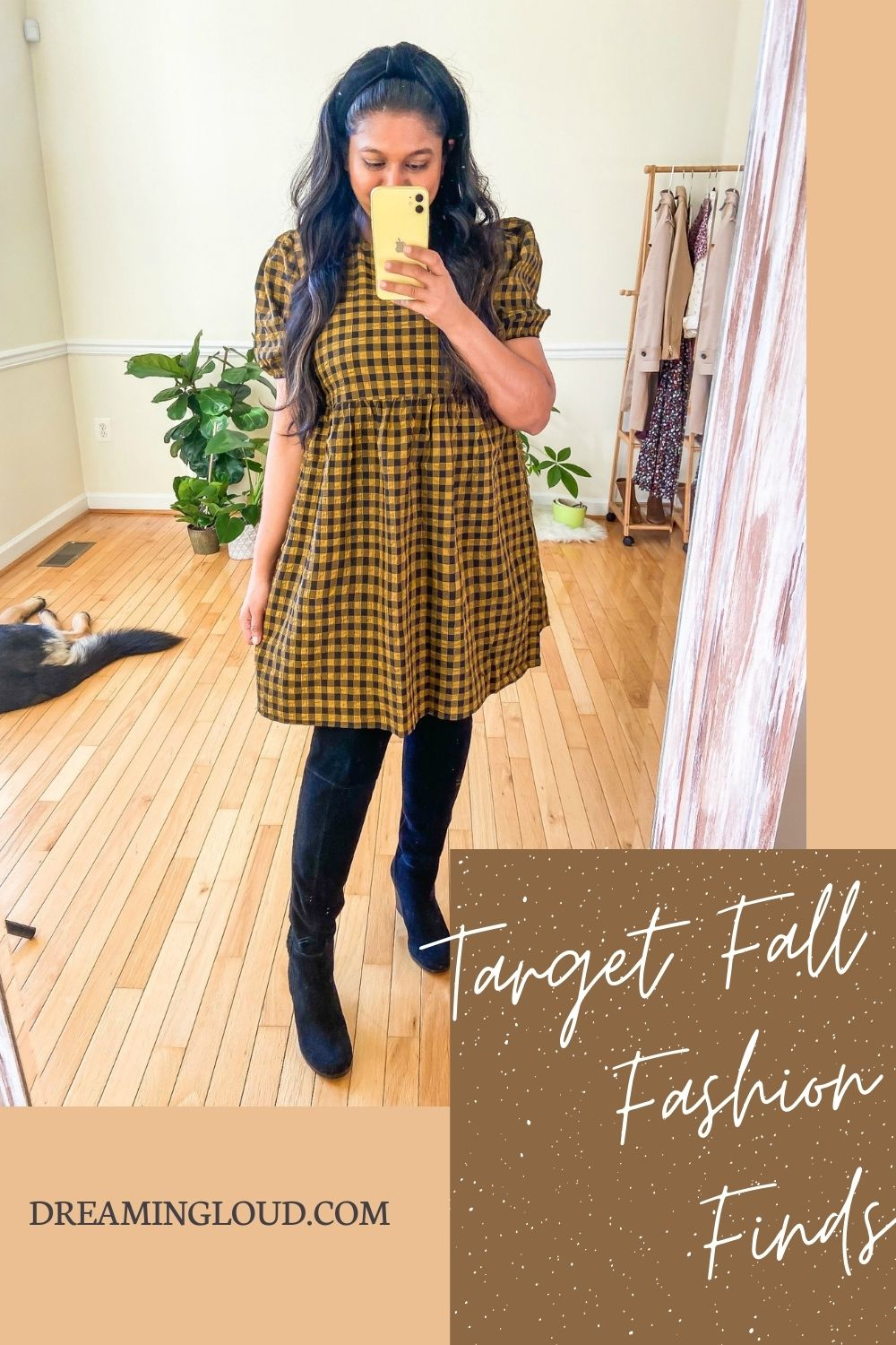 Target Fall Fashion Favorites featured by top MD modest fashion blogger, Dreaming Loud: image of a woman wearing Target Knox Rose Floral Print Long Sleeve Babydoll Top , Ag Farrah Ankle Jeans, naturilizer Fenya Booties | Fall Clothing by popular Maryland modest fashion blog, Dreaming Loud: Pinterest image of a woman wearing a black and yellow plaid dress, over the knee boots, and a black knot headband.