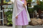 Wearing J.Jill Pleated Knit A-Line Dress, Wide leg pant, Pearl large hoops, White dupatta2