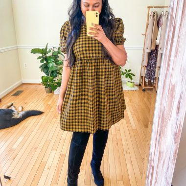 Target Fall Fashion Favorites featured by top MD modest fashion blogger, Dreaming Loud: image of of Women Wearing Target Wild Fable Puff Short Sleeve Seersucker Dress , Vince Camuto Kreesell Knee High Boot