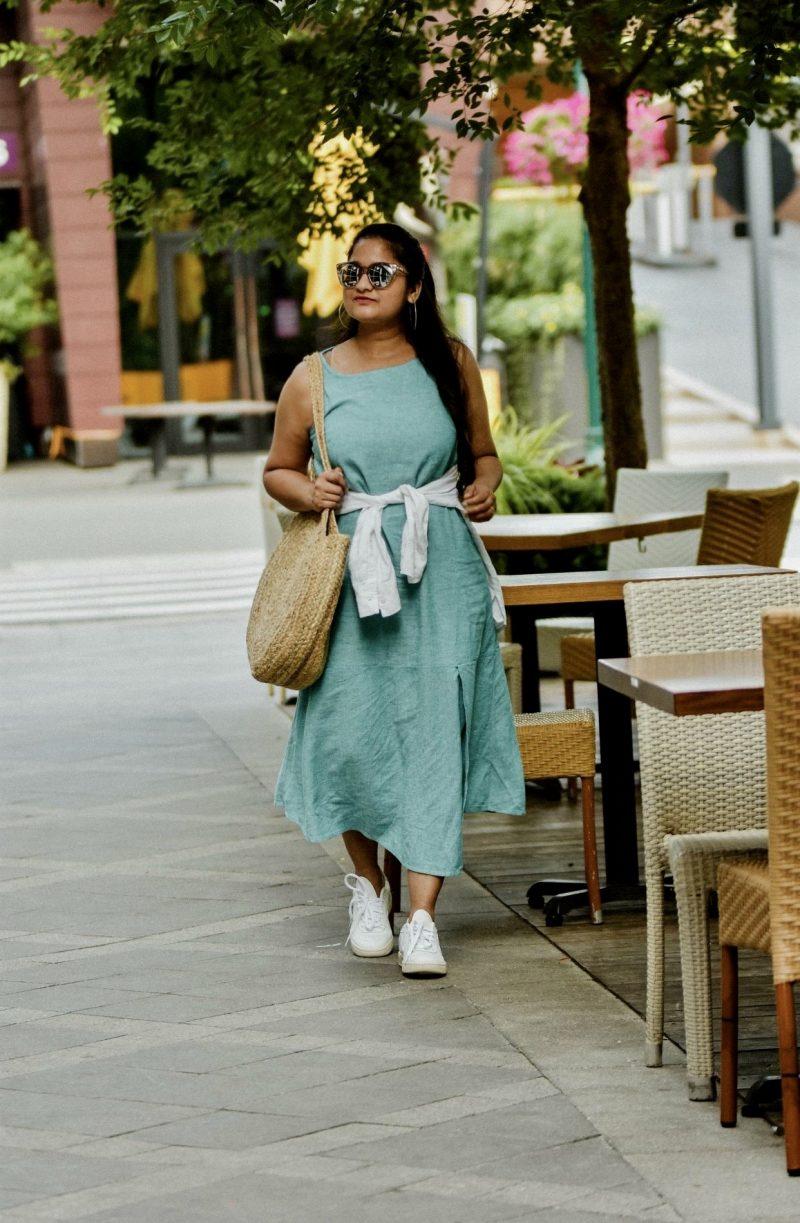 wearing JJill Linen & Rayon Asymmetric Dress, Veja white sneakers, linen white shirt