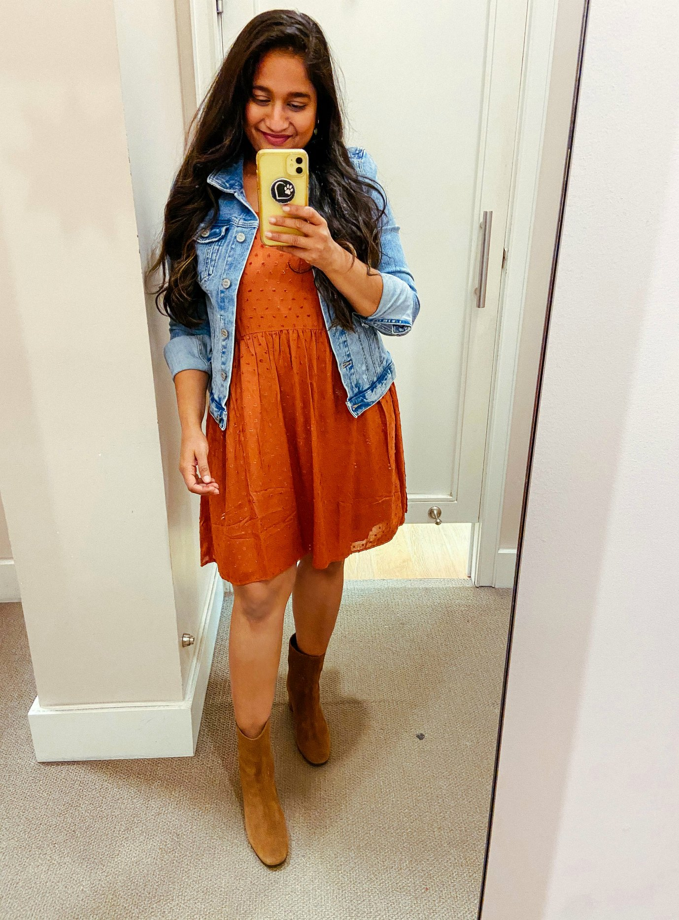 wearing Loft Clip Strappy Swing Dress, Denim jacket, J.crew Suede ankle Boots 1 | Fall Clothing by popular Maryland modest fashion blog, Dreaming Loud: image of a woman wearing a Loft Clip Strappy Swing Dress, Denim jacket, and J.crew Suede ankle Boots.