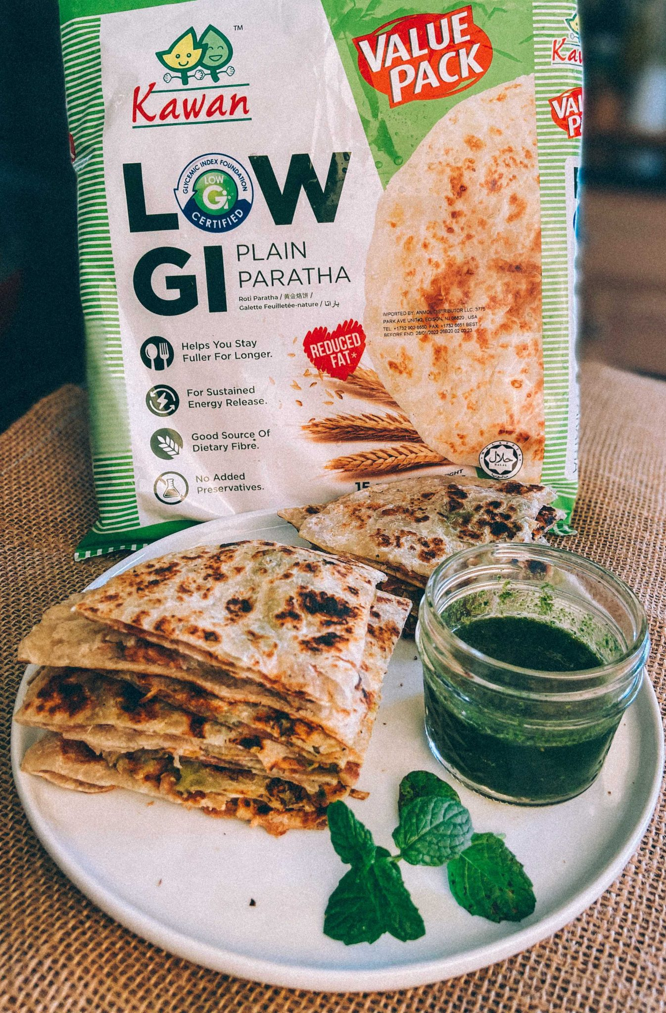 Vegan Paratha Quesadilla with Kawan low GI Parathas4 |Paratha Quesadilla by popular Maryland Indian food blog, Dreaming Loud: image of Low GI plain paratha next to a plate of paratha quesadillas.