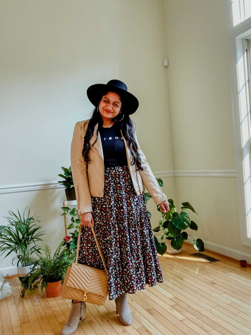 Wearing Ditsy Floral Sleeveless Tiered Midi Dress, Cottonon Friends tee, Blank nyc Faux leather moto jacket, Blondo Nina waterproof suede boots