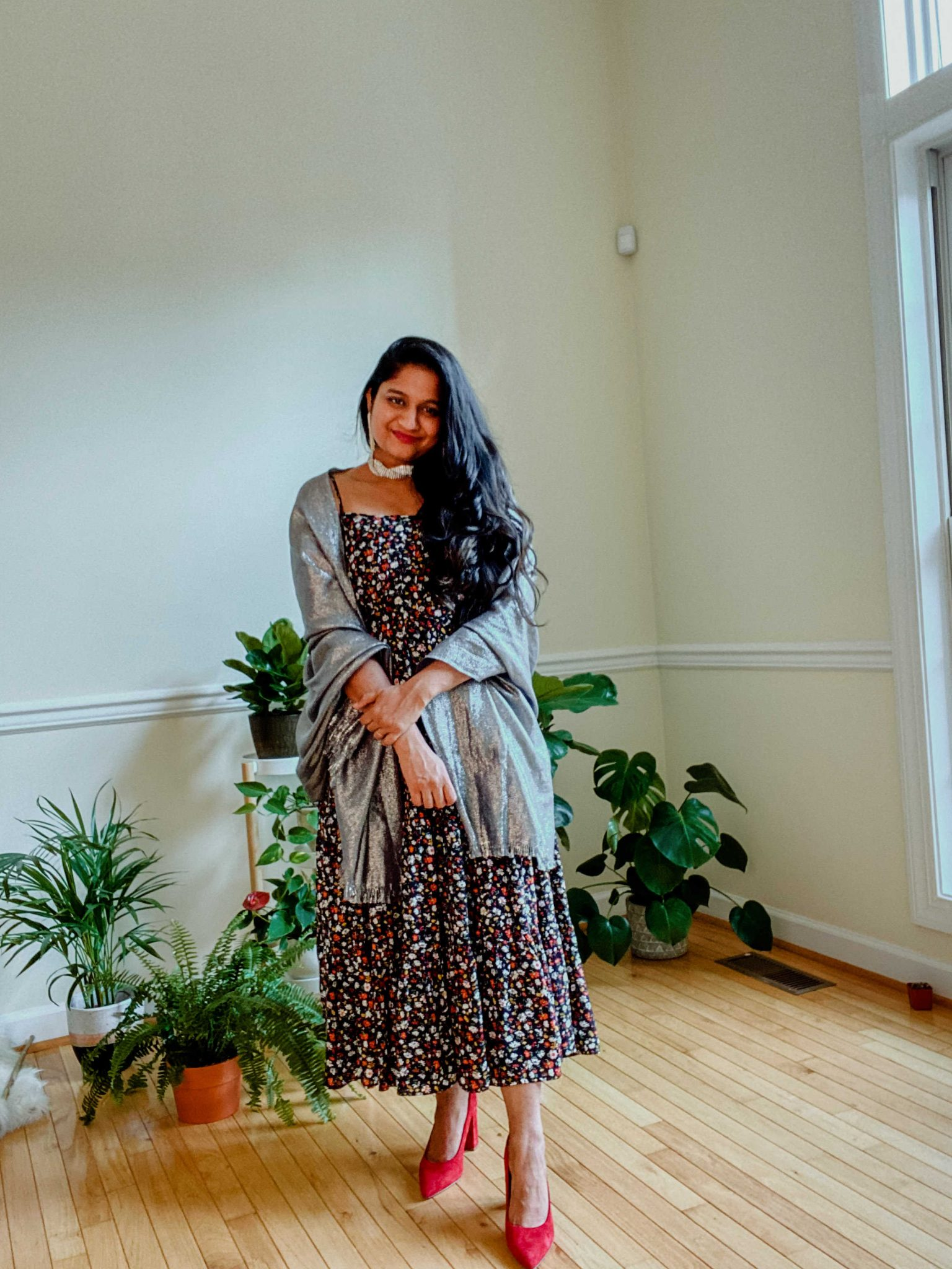 Summer Dresses by popular Maryland modest fashion blog, Dreaming Loud: image of a woman Wearing Ditsy Floral Sleeveless Tiered Midi Dress, Nordstrom Metallic Lightweight Wrap, DSW CAITLIN PUMP, and Amazon Stella + Ruby Women's Indicolite Crystal Earrings.