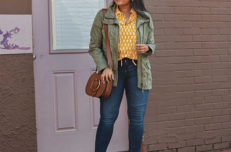 Wearing J.Crew Ruffle Sleeve Cotton voile top, AG Farrah ankle skinny jeans, Schutz Ariella mule, Madewell utlity Passage Jacket