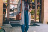 Fall Fashion Finds under $45 featured by top Maryland fashion blogger, Dreaming Loud: image of a woman wearing old navy Plaid flannel shirt., AG legging jeans, J.crew willa suede nakle boots, Halogen pocket cardigan, ralph lauren polo saddle bag