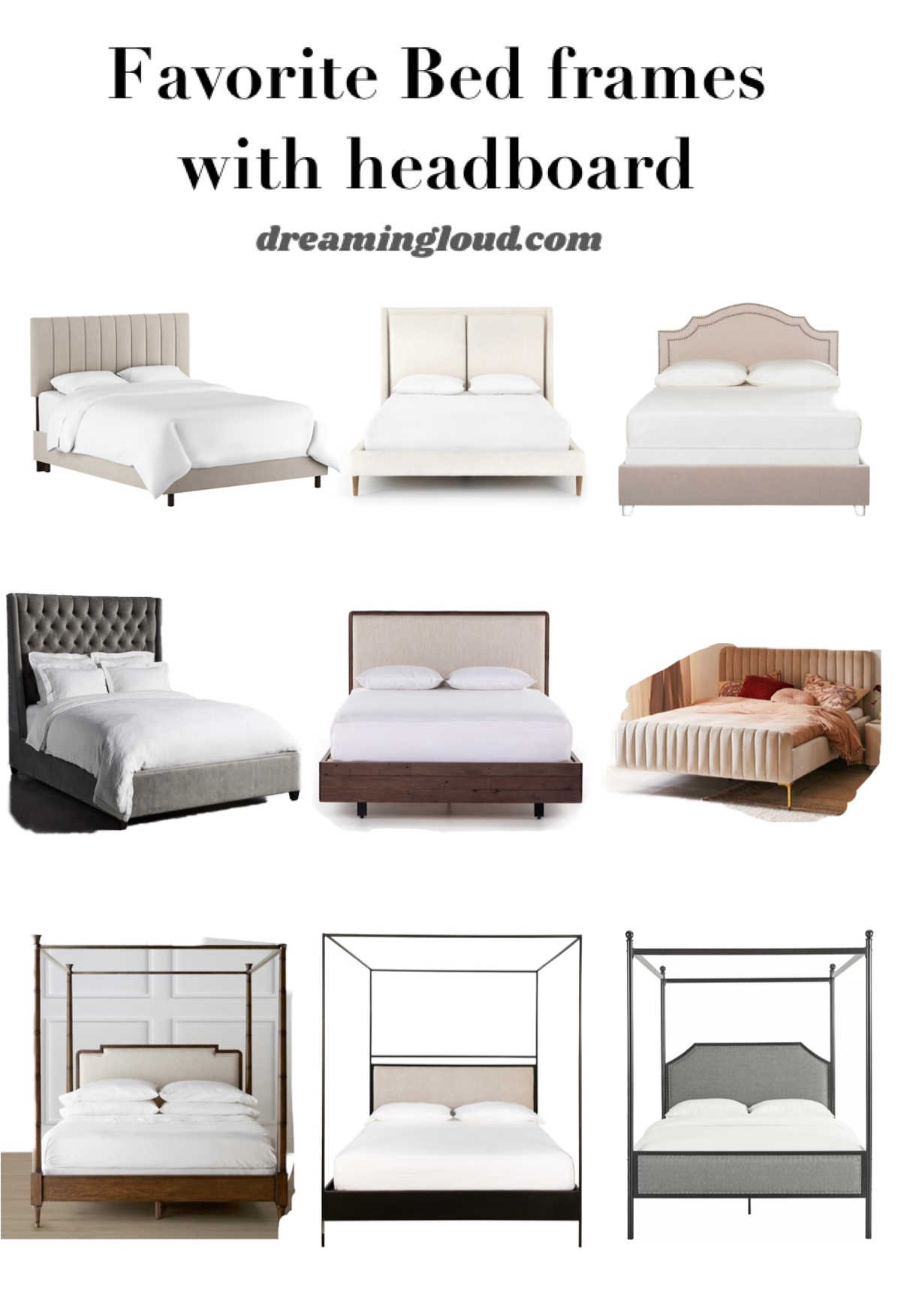 Bed frames with headboards on sale |Kitchen Black Friday Deals by popular Maryland lifestyle blog, Dreaming Loud: collage image of bed frames with headboards.