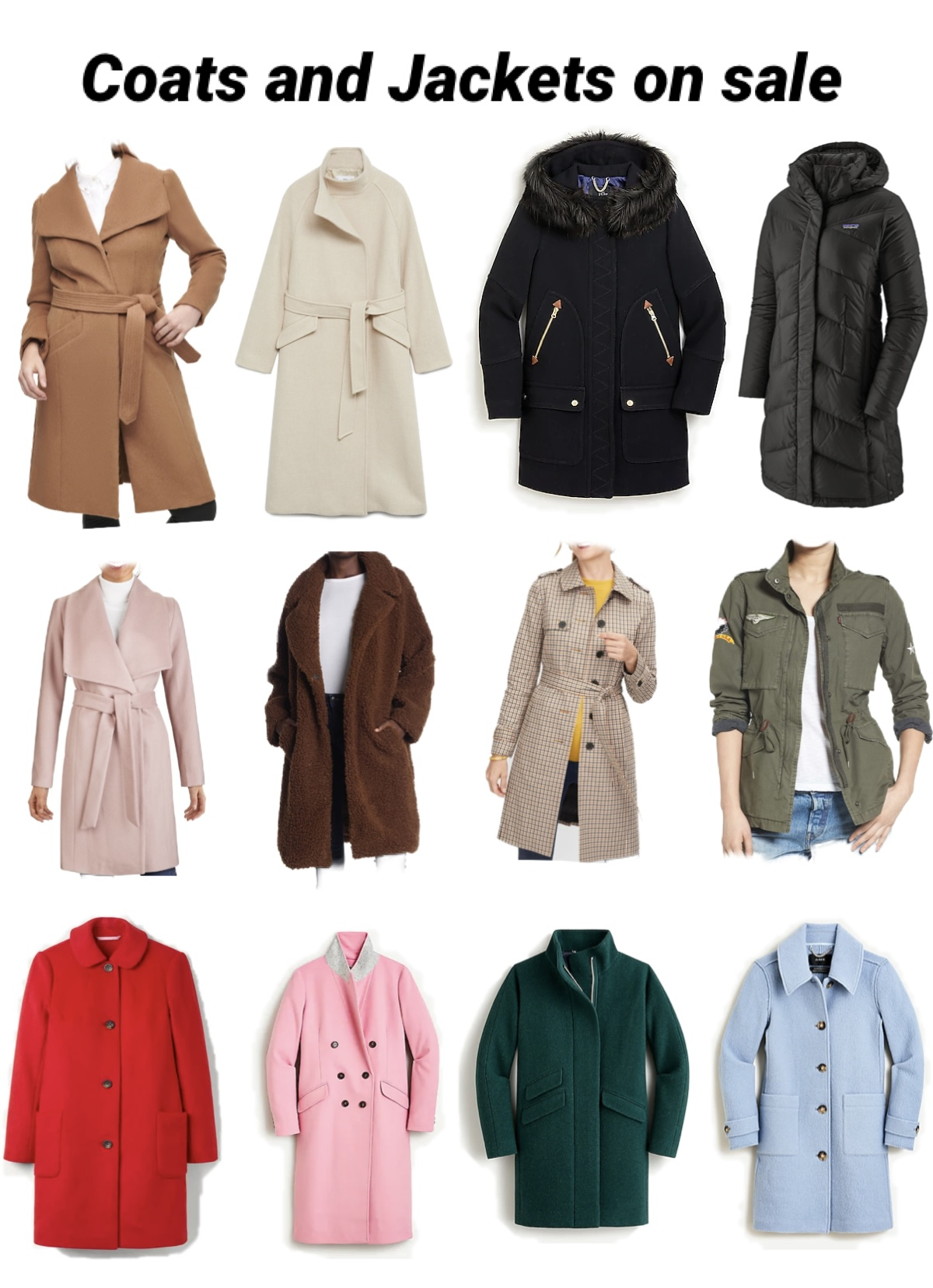 Cyber Minday sales- Coats and Jackets on sale |Green Beauty by popular Maryland beauty blog, Dreaming Loud: collage image of women's jackets and coats.