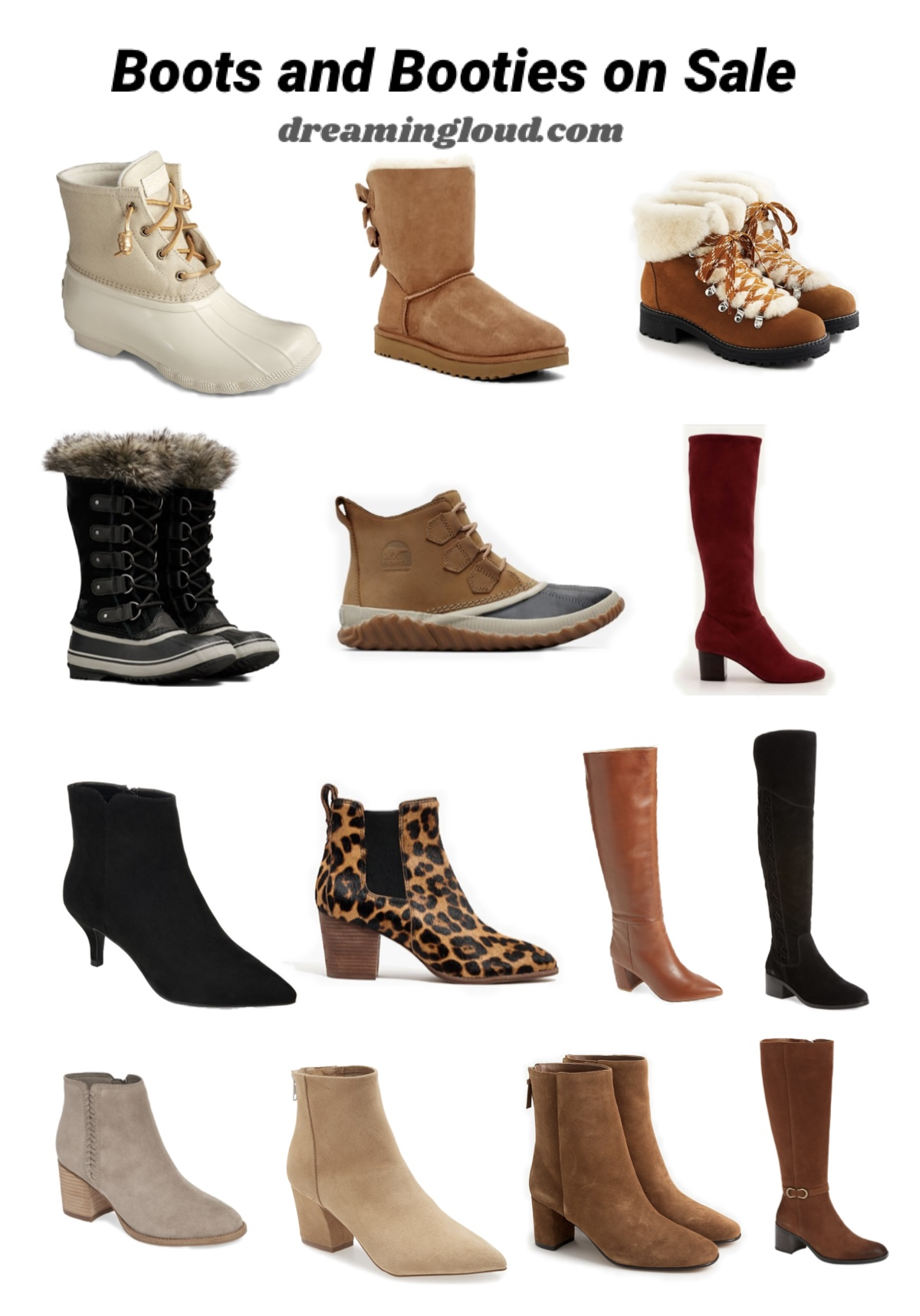 Cyber Monday Sales- Boots and Booties |Green Beauty by popular Maryland beauty blog, Dreaming Loud: collage image of women's boots and booties.