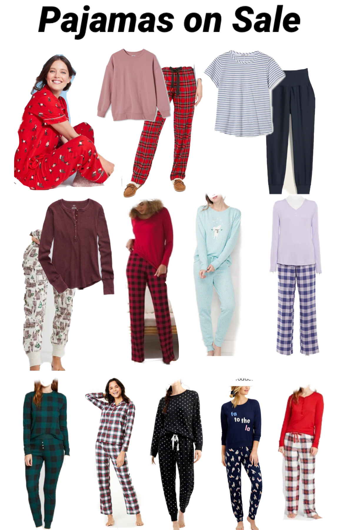 Cyber monday sales-Pajamas on sale |Green Beauty by popular Maryland beauty blog, Dreaming Loud: collage image of women's pajama sets.