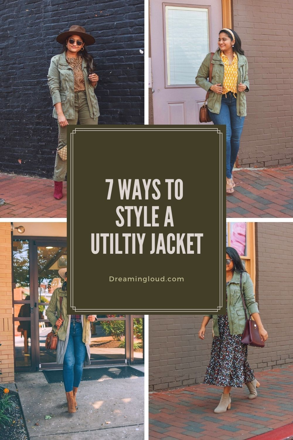 How to Wear a Utility or Khaki Jacket_ 7 Cute Utility jacket Outfits | Utility Jackets by popular Maryland modest fashion blog, Dreaming Loud: Pinterest image of a woman wearing a utility jacket.